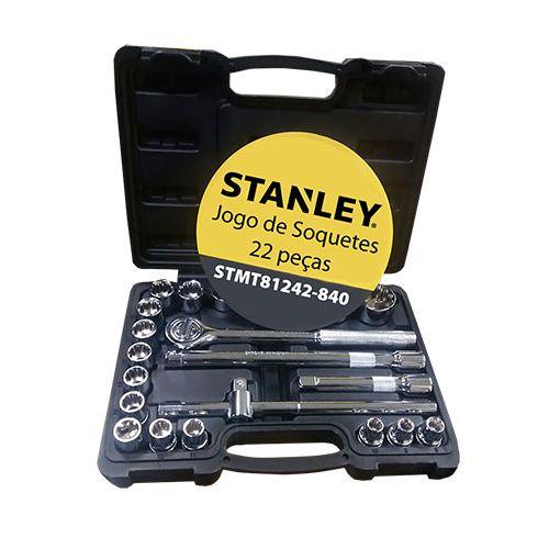 "Jogo De Soquetes De 1/2"" 22 Peças (8 a 32 MM) - Stanley"