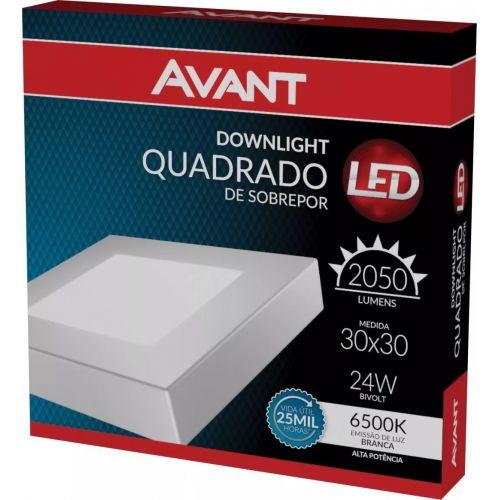 Painel Led de Sobrepor Quadrado Branco 24W 6500K - Avant