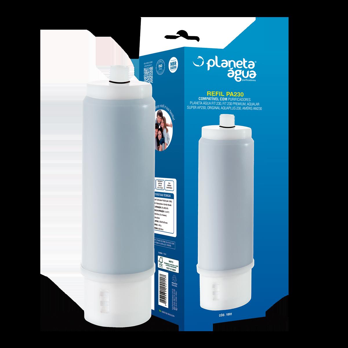 Refil Purificador PA230 - Compatível: Fit 230 e Fit 230 Premium Planeta Água, Aquaplus, 3M AP230, EF Polifil 300 e Outras