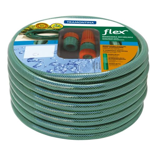 Mangueira Flex 25M com Engates Rosqueados e Esguicho em PVC Verde 79172/250 - Tramontina
